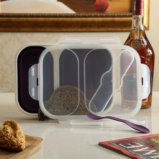 2 compartment silicone lunch box
