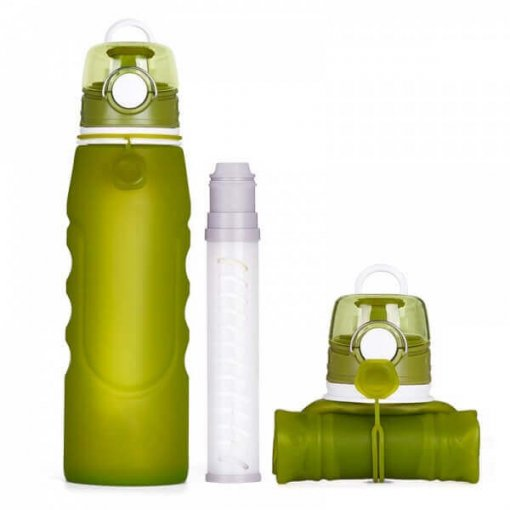 collapsible silicone water bottle with filter